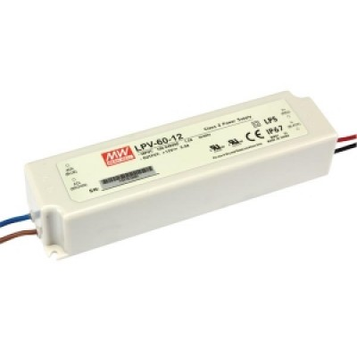 LED transformator 12V, 60W Waterdicht (IP67)